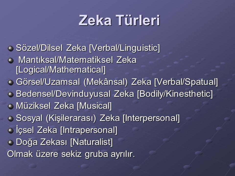 Zeka Türleri Sözel/Dilsel Zeka [Verbal/Linguistic]